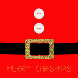 Santa Claus Coat with fur, buttons and gold glitter belt. Merry Christmas background card Flat design Royalty Free Stock Photo