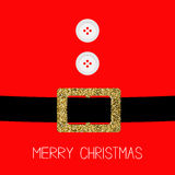 Santa Claus Coat with fur, buttons.  Gold glitter belt. Merry Christmas background card Flat design Stock Images