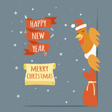 Santa Claus Happy New Year Merry Christmas Greeting Card Template Cartoon Design Vector Illustration Stock Photo