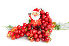 Santa claus and Coffee beans Stock Photos