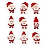 Santa Claus, coleção do grupo do vetor dos desenhos animados, estilo bonito, isolado na ilustração branca do fundo ilustração royalty free