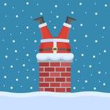 Santa Claus a collé dans la cheminée sur le toit illustration de vecteur