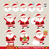 Collection of funny Santa Claus.Christmas set.Emoticons set. vector illustration