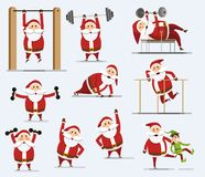 Santa Claus. Collection of Santa Clauses. Santa Claus with a barbell. Santa claus squeezes from the floor. Set of Santa Claus doing sports. Flat style. Vector vector illustration