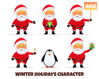 Santa Claus collection. Merry Christmas and Happy New Year. Santa Claus cartoon character . Holiday vector illustration Stock Images