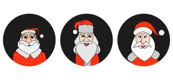 Santa Claus colorful round icons set Stock Photos