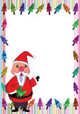 Santa Claus Colorful Tree Frame_eps Royalty Free Stock Images