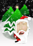 Santa Claus com árvores de Natal ilustração do vetor