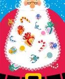 Santa Claus com a barba branca grande Presentes e brinquedos para picar das crianças ilustração do vetor