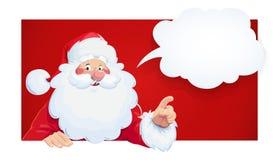 Santa Claus com bolha do discurso Personagem de banda desenhada do Natal ilustração do vetor