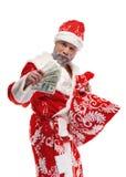 Santa Claus com dólares em um fundo branco imagem de stock royalty free