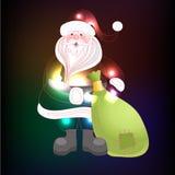 Santa Claus com fundo do Natal e vetor do cartão Fotografia de Stock
