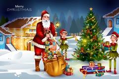 Santa Claus com o presente para a celebração do feriado do Feliz Natal Fotografia de Stock