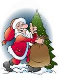Santa Claus com seu saco Fotos de Stock