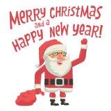 Santa Claus com um saco completo dos presentes Feliz Natal e um cartão do ano novo feliz com tipografia da rotulação da mão Fotos de Stock Royalty Free