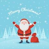 Santa Claus com um saco dos presentes Fotografia de Stock Royalty Free