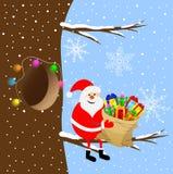 Santa Claus com um saco dos presentes que sentam-se em um ramo de árvore ilustração stock