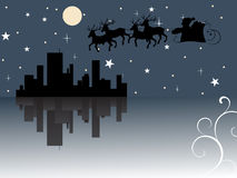 Santa claus come to city. Vector illustration with christmasy elements Royalty Free Stock Image