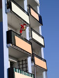 When Santa Claus Comes. Block of flats royalty free stock images