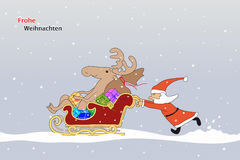Santa Claus comes with the reindeer in a sleigh Stock Illustration