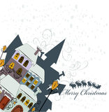 Santa Claus comes to city. Illustration background Royalty Free Stock Photos