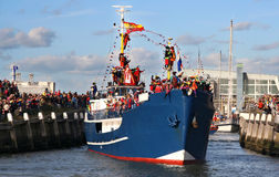 Santa Claus comes to Holland. Santa arrives in Holland by boat royalty free stock images