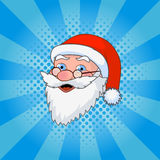 Santa Claus comic style design with jolly plump in red cap on blue background vector illustration Royalty Free Stock Photo