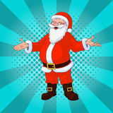 Santa Claus comic style design with jolly plump in red costume on turquoise background vector illustration Royalty Free Stock Photos
