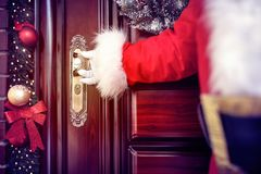 Santa Claus coming in,Christmas concept Stock Photography
