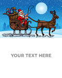 Santa Claus coming for christmas night. This is a blank banner showing Santa Claus is going on his sleigh cart to distribute gifts on Christmas Royalty Free Stock Photography