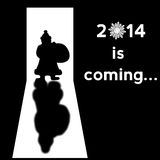 Santa Claus: 2014 is coming. Santa Claus with gifts bag silhouette on black background Royalty Free Stock Photography