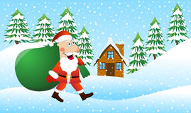 Santa Claus is coming with a sack of gifts on the winter forest Stock Image