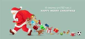 Santa Claus is coming, There are no gifts this year, Santa loses the gifts, banner, Christmas card with greetings, Stock Photos