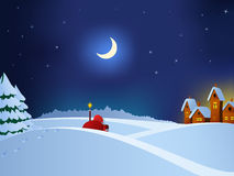 Santa Claus coming to christmas town. Vector illustration. Santa Claus coming to christmas town throw night snow field Stock Photo