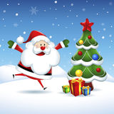 Santa Claus is coming to the Christmas tree  in Christmas Royalty Free Stock Photos