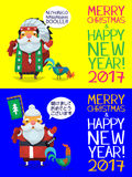 Santa Claus is coming to town. Cute cards with santa clauses dressed like native american and a japanese ronin. Santa Claus with hen greeting people and wishing Stock Photos