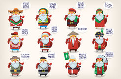 Santa Claus is coming to town. Cute Santa Clauses. Classic Santa Claus went on vacation around the world greeting people and wishing them happy new year.  santas Stock Photo