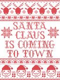 Santa claus is coming to town scandinavian  seamless pattern inspired by Nordic culture festive winter in cross stitch. With heart, snowflake, star,  snow Royalty Free Stock Photo