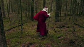 Santa Claus con dolore alla schiena stock footage