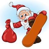 Santa Claus con el bolso del regalo en la snowboard Imágenes de archivo libres de regalías