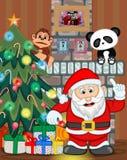 Santa Claus con el ejemplo del vector del lugar del árbol de navidad y del fuego Imagen de archivo libre de regalías