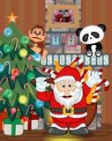Santa Claus con el ejemplo del vector del lugar del árbol de navidad y del fuego Fotografía de archivo