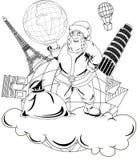 Santa Claus con el globo Imágenes de archivo libres de regalías