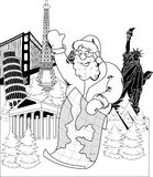 Santa Claus con el mapa Fotos de archivo