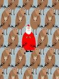 Santa Claus con el modelo inconsútil del reno Fondo del vector de Fotografía de archivo libre de regalías