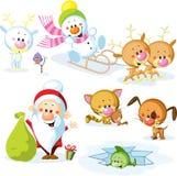 Santa Claus con el muñeco de nieve
