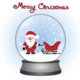 Santa Claus con el trineo en un juguete snowball Tarjeta de Navidad Imagen de archivo