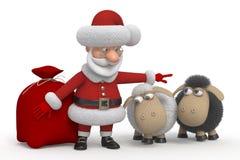 Santa Claus con gli agnelli Fotografia Stock Libera da Diritti