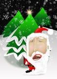 Santa Claus con gli alberi di Natale Fotografia Stock