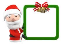 Santa Claus con il bordo bianco in bianco, illustrazione 3D Immagini Stock Libere da Diritti